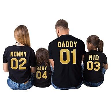 zapatos de separación 86341 a7280 Hibote Ropa Familiar a Juego-Verano Daddy Mommy Camiseta para Padres e  Hijos Camiseta de Manga Corta para la Ropa Camisetas Familiares