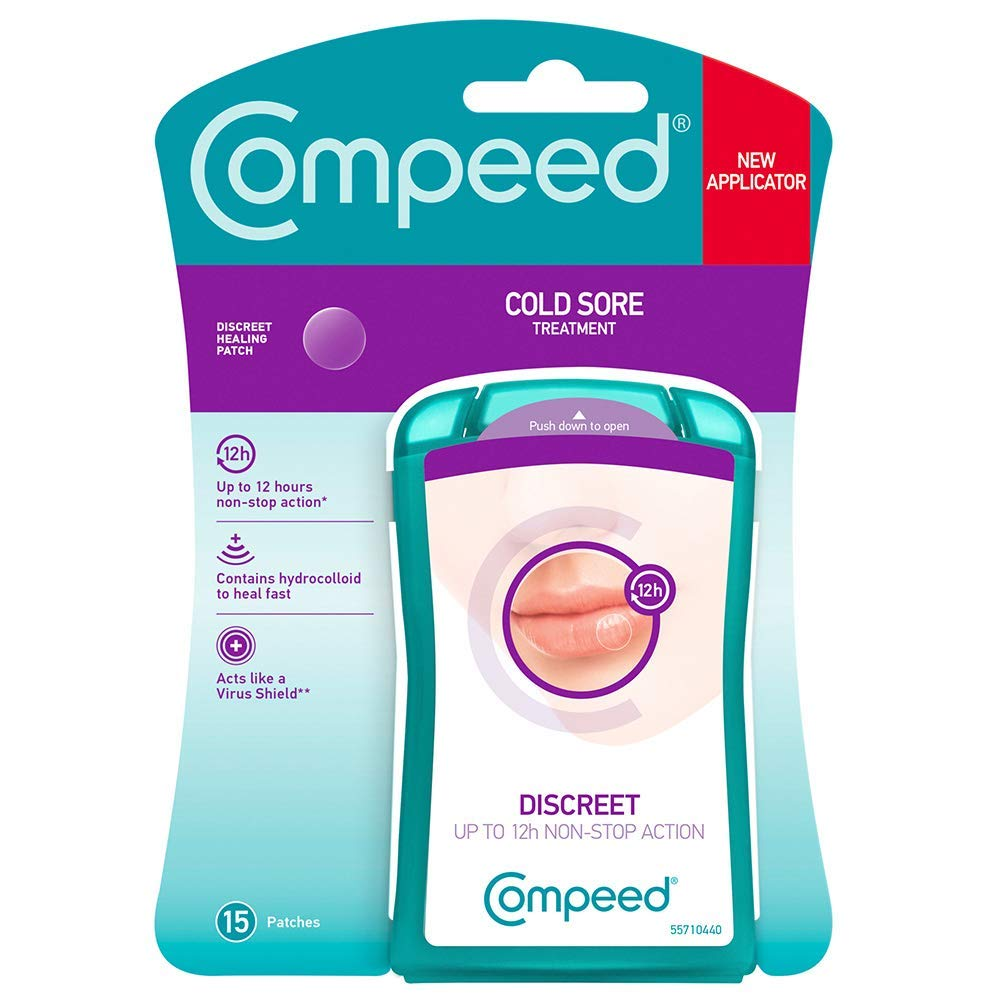 Compeed Cold Sore Discreet Healing Patch, 15 Patches, Cold Sore Treatment, More Convenient than Cold Sore Creams, Dimensions: 1.5 cmx1.5 cm