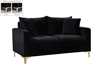 Meridian Furniture Naomi Collection Modern   Contemporary Velvet Upholstered Loveseat with Stainless Steel Base in a Rich Gold or Chrome Finish, Black