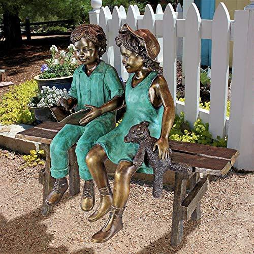 Design Toscano Read to Me Boy and Girl on Bench Cast Bronze Garden Statue (Boy Reading Statue Garden)