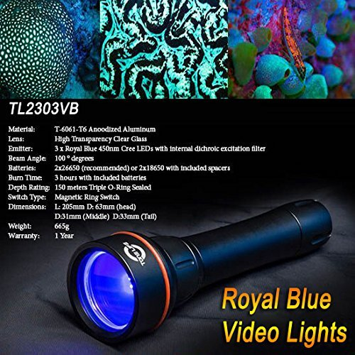 TONELIFE Fluorodiving Fluo Night Dive Lights Reef Coral Royal Diving Video Torch Scuba Lamp with 3pcs 450nm Royal Blue Led 150m Waterproof,Black (Torch+Lanyard Only) ¡­