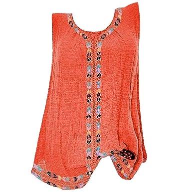 a9144cd6e24 Amazon.com: Hot Women O-Neck Sleeveless Cotton Linen Vest Plus Size Print  Pocket Cotton Linen Casual Loose Crop Tops Blouse: Clothing