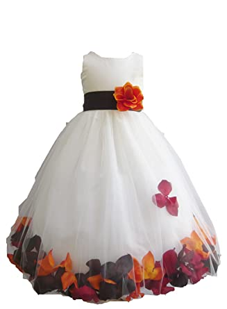 cf3522a9bc7 Amazon.com  HMF Ivory orange burgundy brown Flower Girl Dress with Loose  fall colors Petal  Clothing