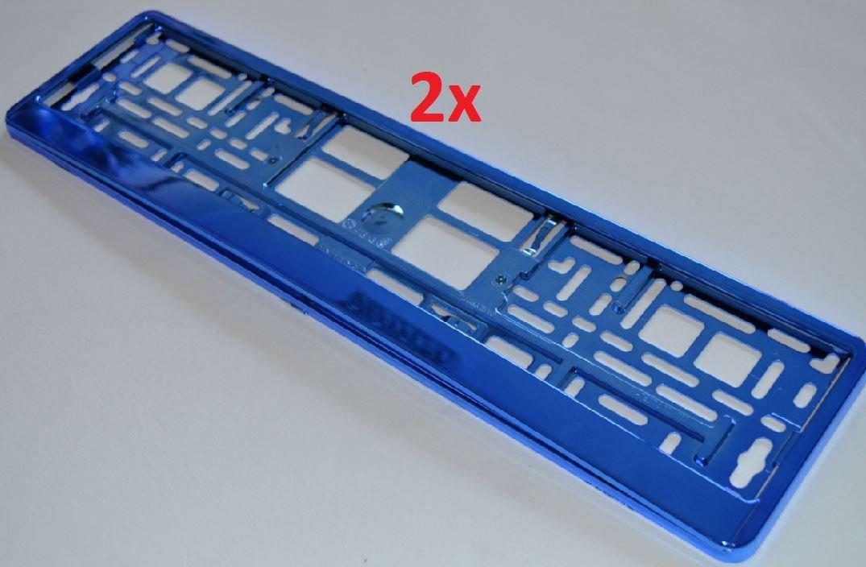 Farbige Kennzeichenhalter (versch. Farben) - 2 x Nummernschildhalter ohne Werbung - Kennzeichenhalterung mit abnehmbarer Leiste (Blau Metallic) AA ComCard