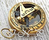 Humaira Nautical ANTIQUE BRASS SUNDIAL COMPASS VINTAGE PUSH BUTTON NAUTICAL COMPASS MARINE GIFT B