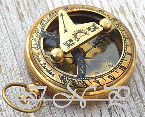shaheera. Nautical Shaheera Nauticalアンティーク真鍮日時計コンパスヴィンテージプッシュボタンNautical Compass Marineギフト B07BRS3HN7