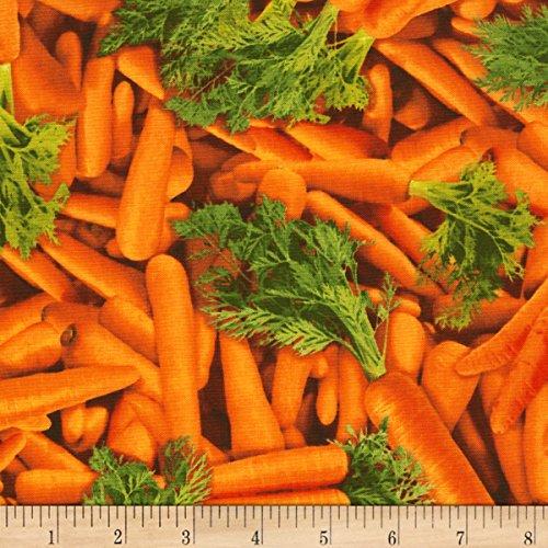 Timeless Treasures Veggie Bowl Carrots Orange Fabric by The Yard