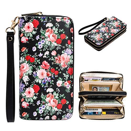 Heaye Ditsy Floral Print Wallet RFID Women Credit Card Zip Around Wristlet 16 Slots