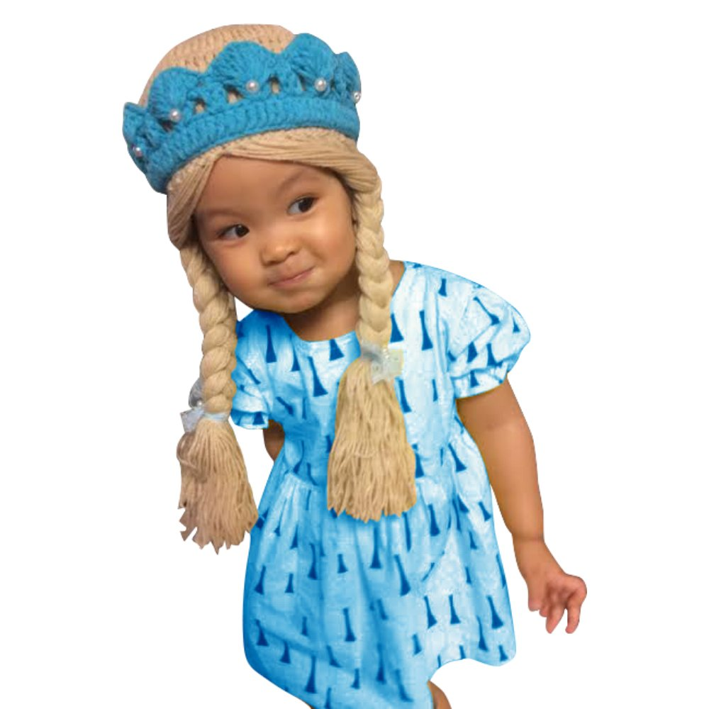 Elsa Frozen disney costume hat wig hair tiara baby girl with two braids(Small)