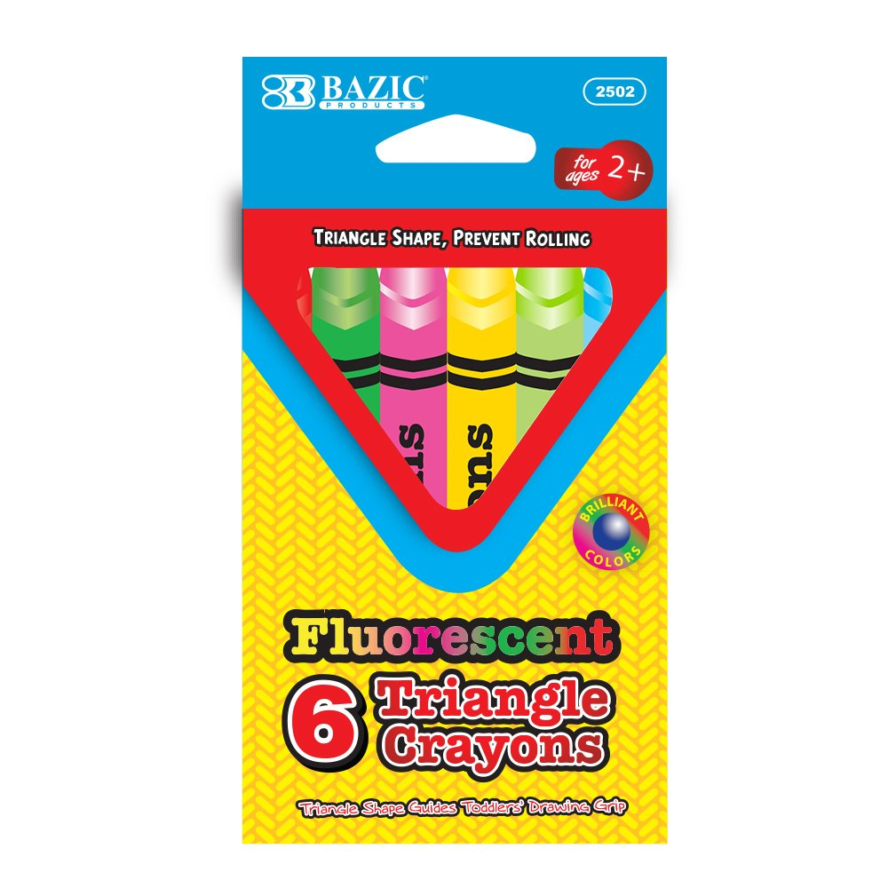 Case of 144 BAZIC 6 Fluorescent Color Triangle Crayon