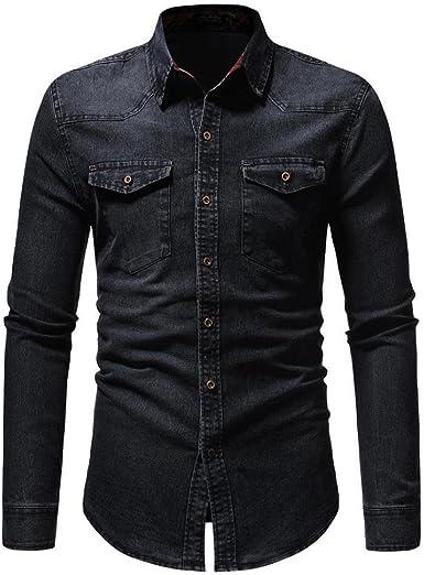 Camisas Denim Hombre, Camisetas Blusas Tops Hombre, Camisa de Manga Larga Vintage Apenada de otoño Invierno para Hombre by Venmo (Negro, XXL): Amazon.es: Ropa y accesorios