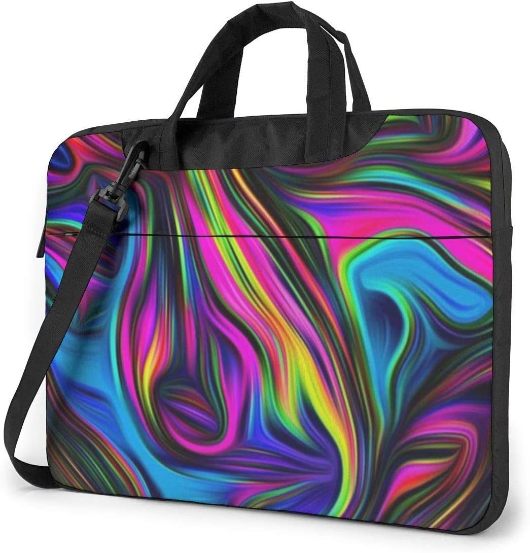 Colorful Tie Dye Laptop Shoulder Messenger Bag, Multi-Functional Notebook Sleeve Carrying Case with Strap & Trolley Belt for Lenovo Acer Asus Dell Lenovo Hp Samsung Ultrabook Chromebook 15.6 Inch