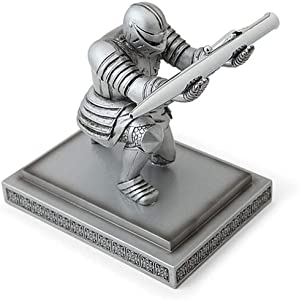 Hooshion Executive Knight Pen Holder Resin Desktop Decor with a Pen for Desk Office Home Decoration Gift (Silver)
