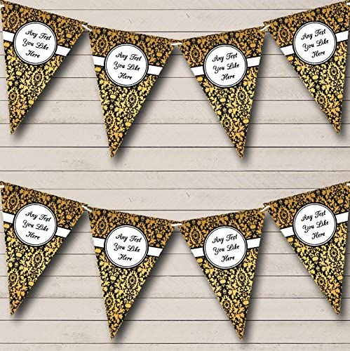 Yellow White Black Damask Personalised Wedding Anniversary Party Bunting Banner