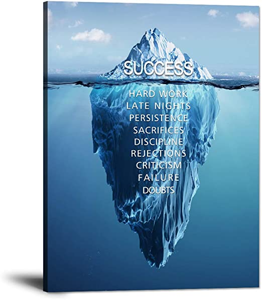 Iceberg of Success Canvas Wall Art Motivational Decor