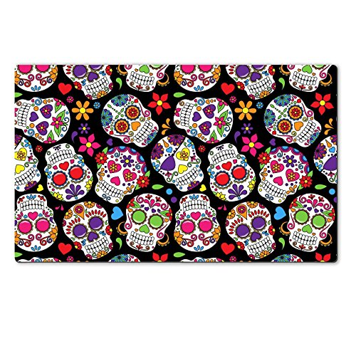 Images Of Day Of The Dead Costumes (Luxlady Natural Rubber Large Table Mat IMAGE ID: 36626880 Day of the Dead Sugar Skull Seamless Vector Background)