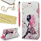 S7 Edge Case,Samsung Galaxy S7 Edge Case - Mavis's Diary 3D Handmade Wallet Bling Crystal PU Leather Case Bright Diamonds Elegant Butterfly Fairy Design Flip Cover with Dust Plug & Stylus