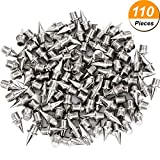 110 Piece 3/ 8 Inch Steel Track and Cross Country Spikes Replacement, Silvery