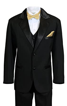 b2198a2d7 Boys 2 Button Notch Ring Bearer Wedding Tuxedo with Colored Bow Tie and  Pocket Square (. Roll over image to zoom in