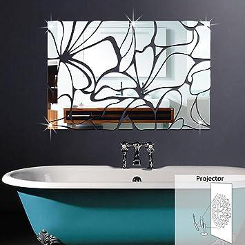 Bazaar Honana Acryl Spiegelte DIY Dekorative Wand Aufkleber 3D Wandmalerei  Badezimmer Spiegel
