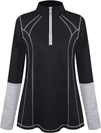 MOQIVGI Womens Half Zip Long Sleeve Athletic Workout Sweatshirts Fitness Yoga Running Tops with Thumb Holes