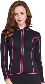Women's 2mm Neoprene Wetsuits Jacket Long Sleeve Wetsuit Top Surfing Suit