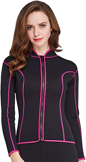 Women's 2mm Neoprene Wetsuits Jacket Long Sleeve Wetsuit Top Surfing Suit Modest Swimwear