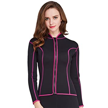 07e8fedafe31a KXCFCYS Women s 2mm Neoprene Wetsuits Jacket Long Sleeve Wetsuit Top  Surfing Suit Modest Swimwear (Black