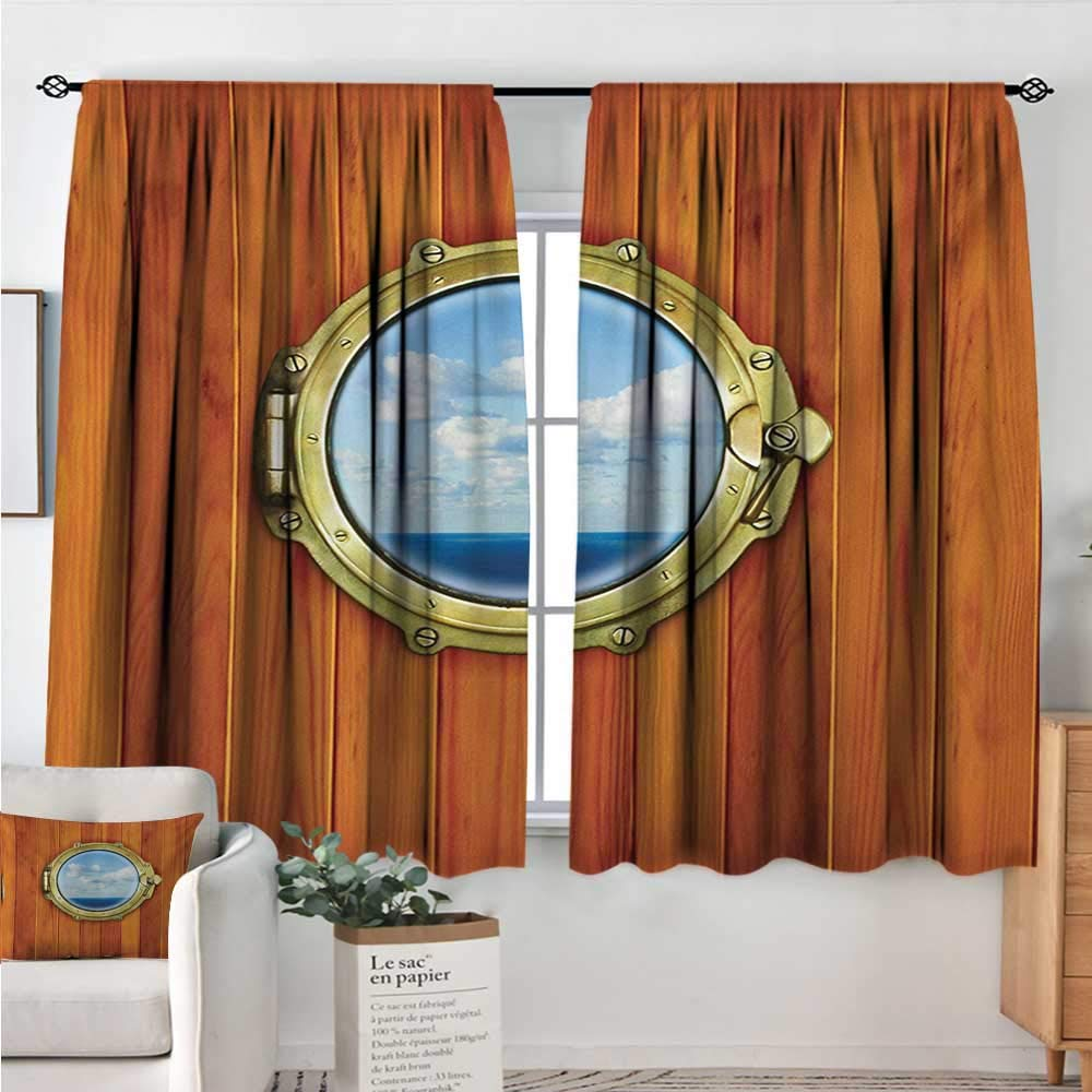 Unprecall Nautical Window Curtain 2 Panel Porthole Wooden Background Window Ship Old Sailing Vessel Print Dark Orange Yellow Pale Blue soundproof Curtain W63 x L63 Blankets & Quilts