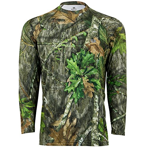 Mossy Oak Men's Camo Long Sleeve Performance Tech Tee Hunting Shirt, Obsession, Large (Bow Tech Shirt)