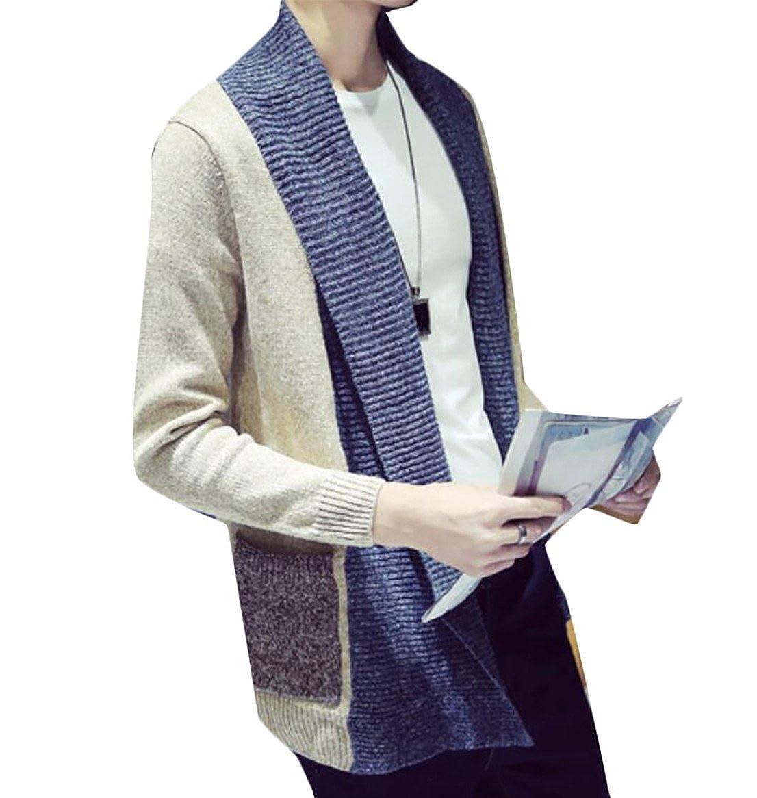 WANSHIYISHE Mens Slim Fit Cotton Shawl Collar Contrast Open Front Cardigan Sweater