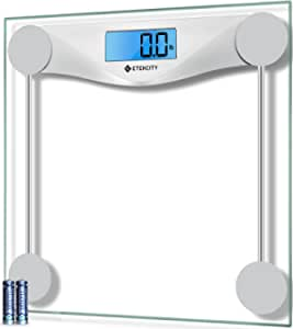 Etekcity Digital Body Weight Bathroom Scale, Large Blue LCD Backlight Display, High Precision Measurements,6mm Tempered Glass, 400 Pounds