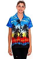 Original King Kameha | Funky Hawaiibluse Hawaiihemd | Damen | XS - 6XL | Kurzarm | Front-Tasche | Hawaii-Print | Strand Palmen | Verschiedene Farben