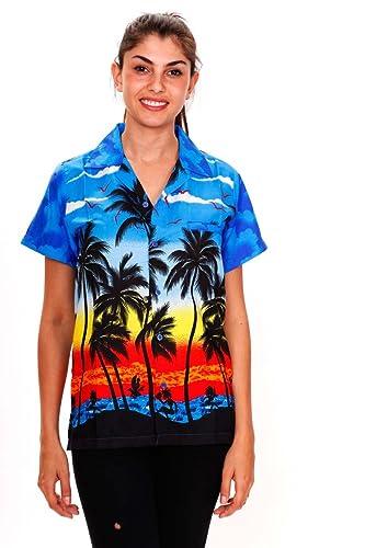 Original King Kameha | Funky Hawaiibluse Hawaiihemd | Damen | XS - 6XL | Kurzarm | Front-Tasche | Ha...