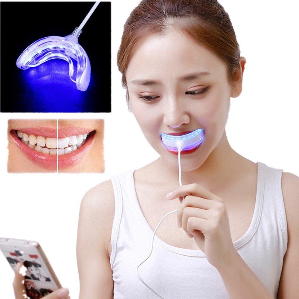 Promisen Professional Dental Whitening Kit Blue Teeth Whitening Light USB Charging 2PCS Whitening Gel by Promisen (Image #1)