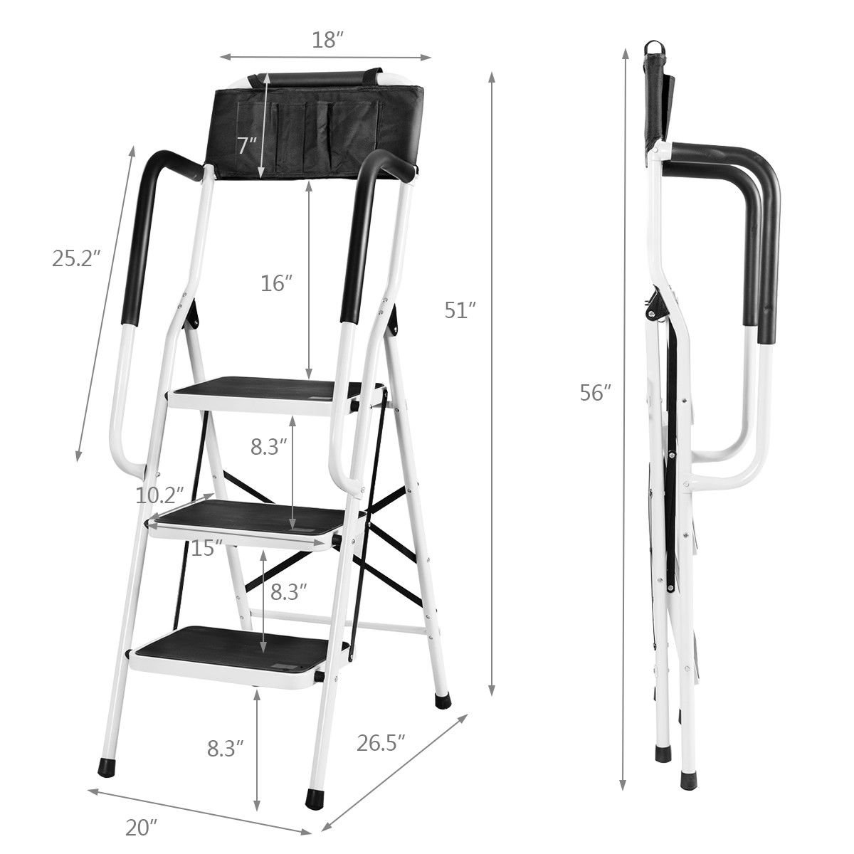 Giantex Folding 3 Step Ladder W/Padded Side Handrails Non-Slip Steps Tool Pouch Caddy Lightweight Powerful Capacity by Giantex (Image #7)