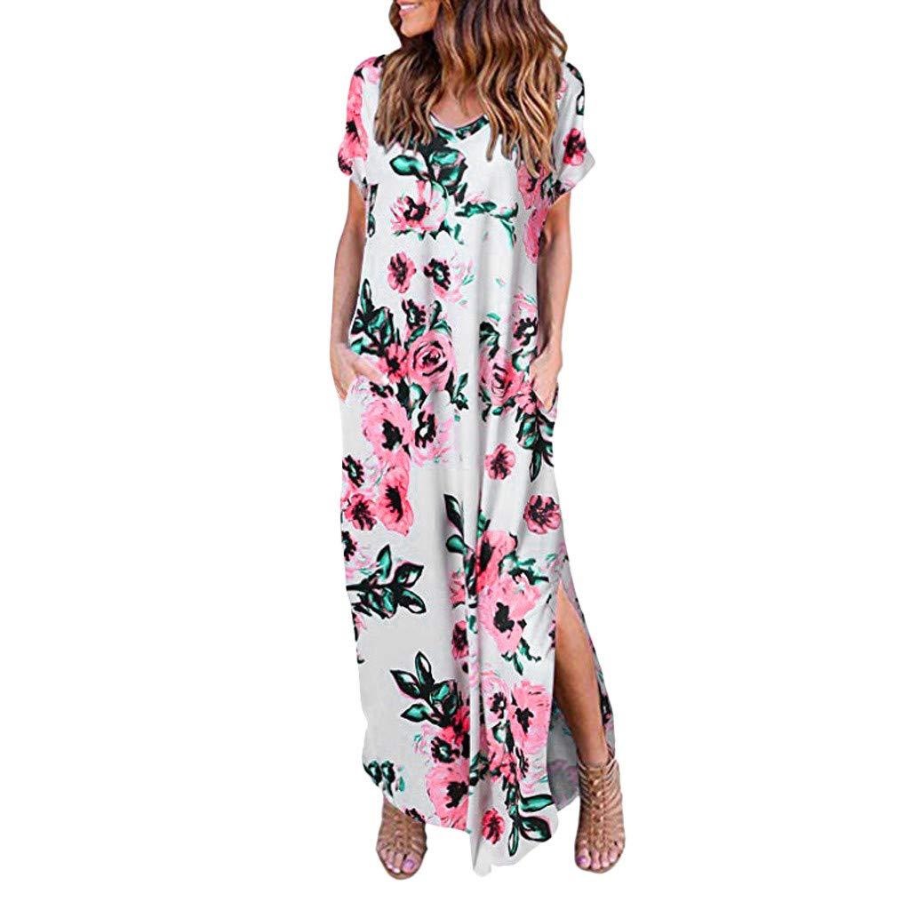 Women's Maxi Dress Bohean Floral Printed Wrap V Neck Short Sve Split Beach Party Dress Sundresses White by NIKAIRALEY Dress