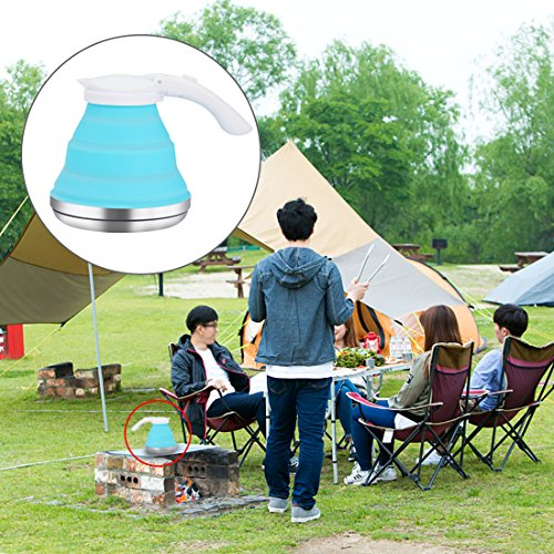 - Dltsli 1.5L Blue Silicone Collapsible Kettle Portable Foldable Tea Pot for Outdoor Camping Travel Picnic, Stainless Steel Base Compact Lightweight