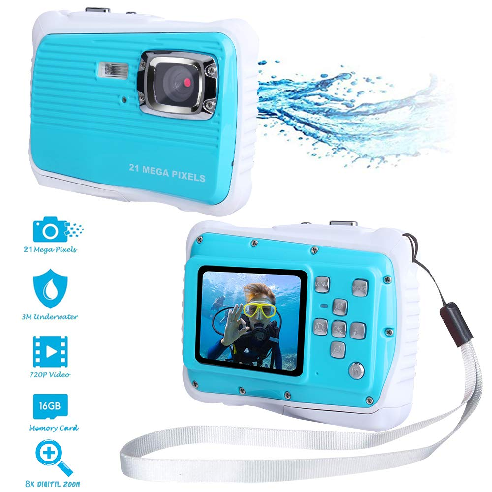 Waterproof Digital Camera Kids with Free 16GB Memory Card, Kids Digital Camera 21MP HD Underwater Action Camera Camcorder 2.0 inch LCD Screen, 8X Digital Zoom by Adoreco
