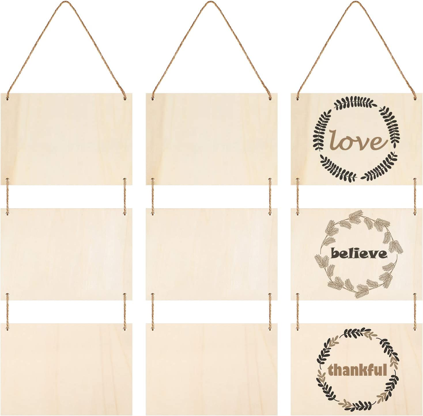 Black 10 Pieces Unfinished Hanging Wood Sign Rectangle Blank Wooden Plaque Blank Hanging Wooden Slices Banners with Ropes for Pyrography Painting Writing DIY Home Crafts Supplies
