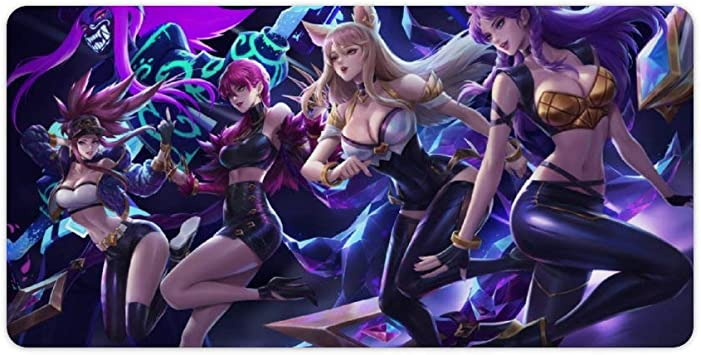 Mouse Mat Compatible With League Of Legends Kda Ahri Akali Evelynn Kai Sa Large Gaming Mouse Mat Waterproof Stain Resistant Non Slip Ideal For Esports Bürobedarf Schreibwaren