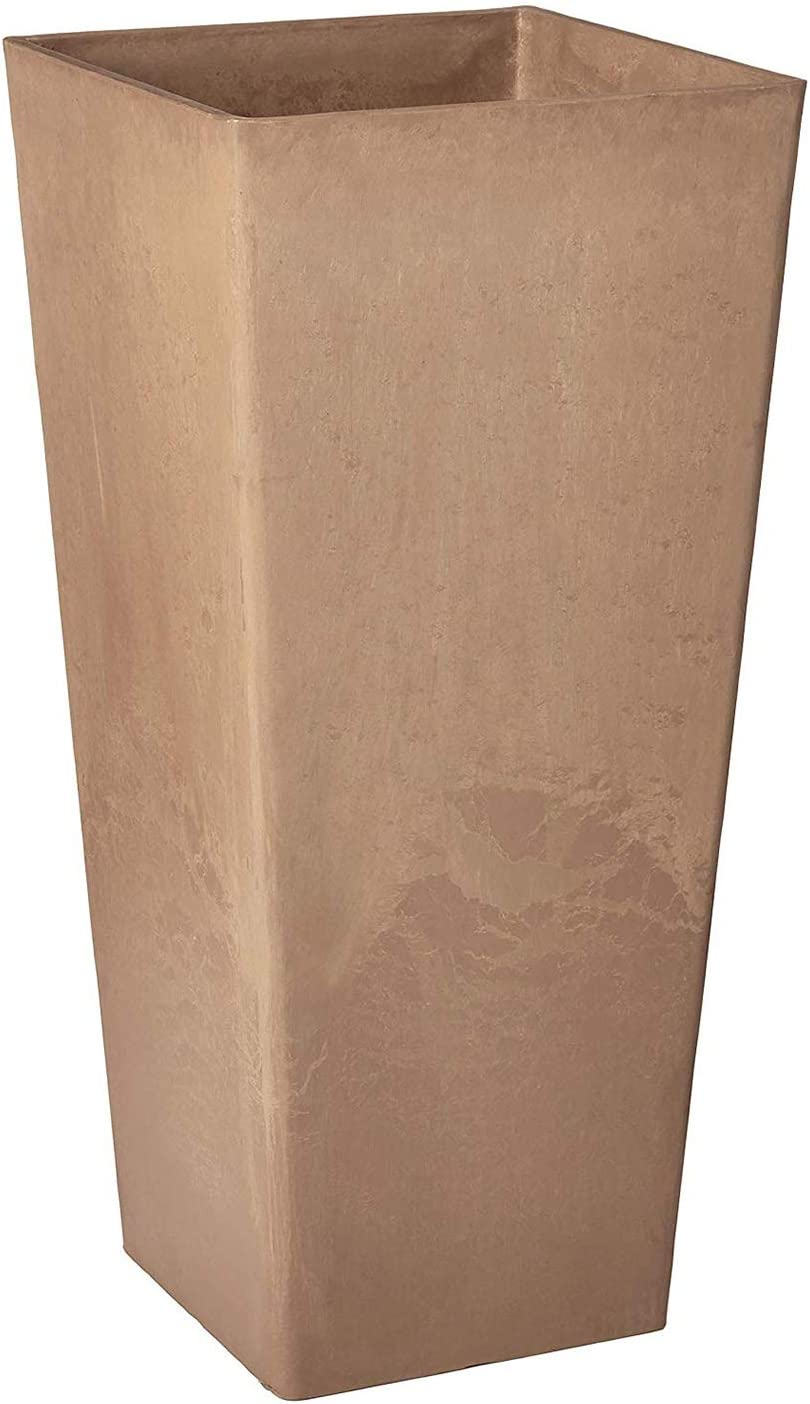 """Arcadia Garden Products PSW FS32TP Contempo Tall Square Planter, 13"""" x, 13"""" x 28"""", Taupe"""