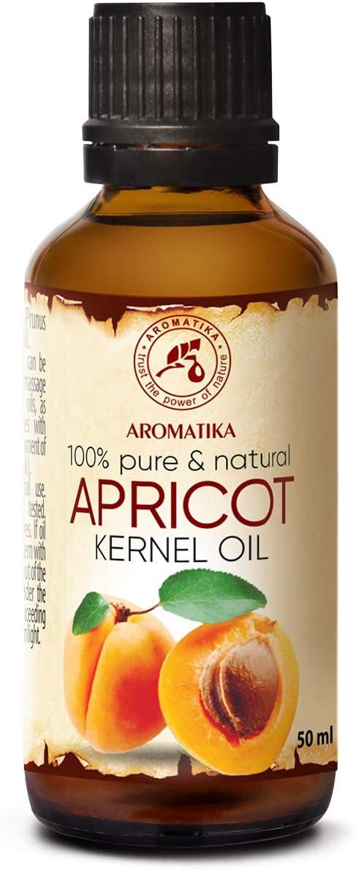 Aceite de Semilla de Albaricoque 50ml - Prunus Armeniaca - Italia - Prensado en Frío - 100% Natural y Puro - Aceite Extra Virgen - Cuidado Intensivo para Rostro - Cuidado Corporal - Cabello