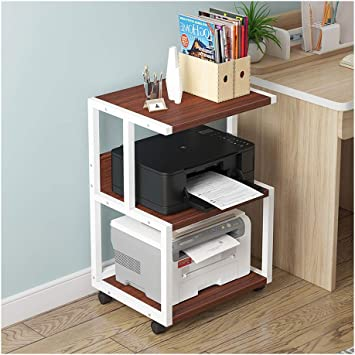 Amazon Com Printer Stands 3 Shelf Mobile Printer Stand Paper Organizer 3d Printer Media Cart With 4 Swivel Wheels Desk Mainframe Storage Rack Color White B Office Products