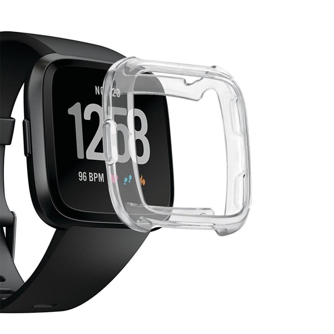 Iusun For Fitbit Versa Smartwatch Screen Protector, Ultra TPU Silicone Cover Case Watch Casing Guard Protector For Fitbit Versa Smart Band (Clear)