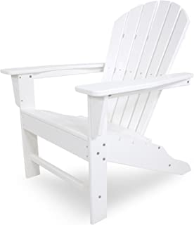 POLYWOOD Outdoor Furniture South Beach Adirondack Chair, White Recycled  Plastic Materials