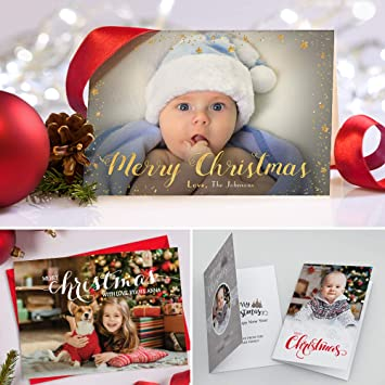 A6 Personalised Christmas Thank You Cards Envelopes Folded Xmas Thank You Notes with Photo