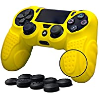 CHINFAI PS4 Controller DualShock4 Skin Grip Anti-Slip Silicone Cover Protector Case for Sony PS4/PS4 Slim/PS4 Pro Controller with 8 Thumb Grips (Yellow)