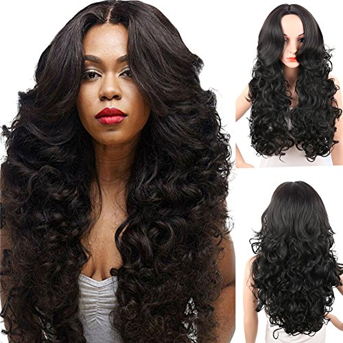 KRSI Long Wavy Curly Synthetic Hair Wigs for Black Women 28Inch Natural Black Wigs With Bangs Heat Resistant None Lace African American Women's Wigs+Free Cap (Black) ()