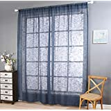 Polyester yarn Linen Solid Color Half shading Living room bedroom The finished product Wear bar Window Curtains 1 Panel , blue , 100*270cm